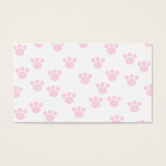Animal Paw Print. Light Pink and White Pattern. Business Card
