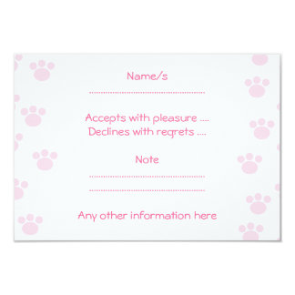 Animal Paw Print. Light Pink and White Pattern. Card