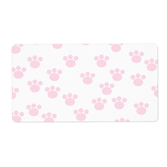 Animal Paw Print. Light Pink and White Pattern. Shipping Label