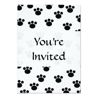 "Animal Paw Print Pattern. Black and White. 5"" X 7"" Invitation Card"