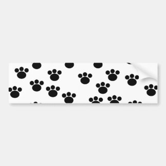 Animal Paw Print Pattern. Black and White. Bumper Sticker