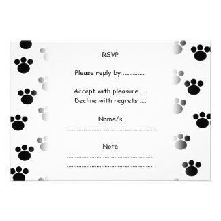 Animal Paw Print Pattern. Black and White. Personalized Announcements