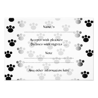 Animal Paw Print Pattern. Black and White. Announcement