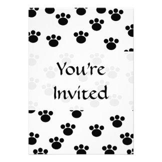 Animal Paw Print Pattern. Black and White. Custom Invitations