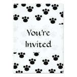 Animal Paw Print Pattern. Black and White. Custom Invitations