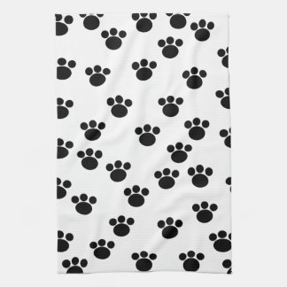 Animal Paw Print Pattern. Black and White. Kitchen Towel