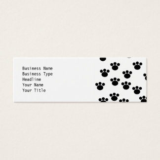 Animal Paw Print Pattern. Black and White. Mini Business Card