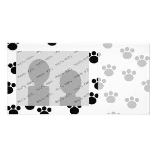 Animal Paw Print Pattern. Black and White. Photo Card