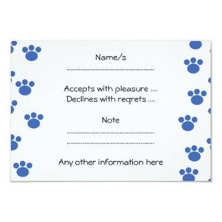 "Animal Paw Print Pattern. Blue and White. 3.5"" X 5"" Invitation Card"
