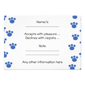 Animal Paw Print Pattern Blue and White Personalized Invites