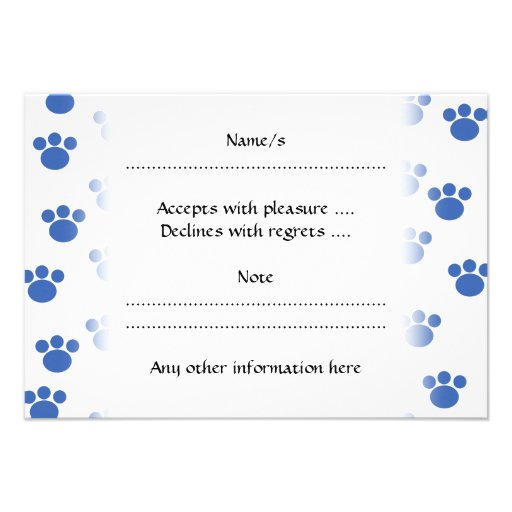 Animal Paw Print Pattern. Blue and White. Personalized Announcement