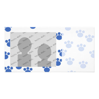Animal Paw Print Pattern. Blue and White. Personalized Photo Card