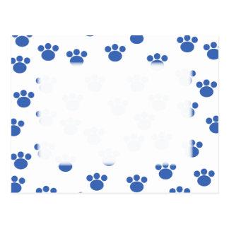 Animal Paw Print Pattern. Blue and White. Postcard