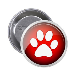 Animal Paw Print Red Icon 2 Inch Round Button