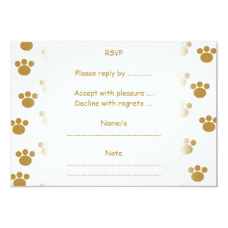 """Animal Paw Prints. Brown and White Pattern. 3.5"""" X 5"""" Invitation Card"""