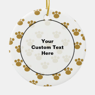 Animal Paw Prints. Brown and White Pattern. Ceramic Ornament