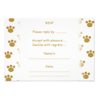 Animal Paw Prints Brown and White Pattern Personalized Announcement
