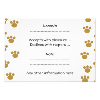 Animal Paw Prints. Brown and White Pattern. Invites