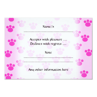 """Animal Paw Prints. Light Pink and Bright Pink. 3.5"""" X 5"""" Invitation Card"""