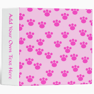 Animal Paw Prints. Light Pink and Bright Pink. Binders