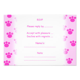 Animal Paw Prints. Light Pink and Bright Pink. Personalized Invitations