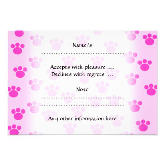 Animal Paw Prints Light Pink and Bright Pink Custom Announcements