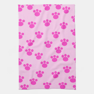 Animal Paw Prints. Light Pink and Bright Pink. Kitchen Towel