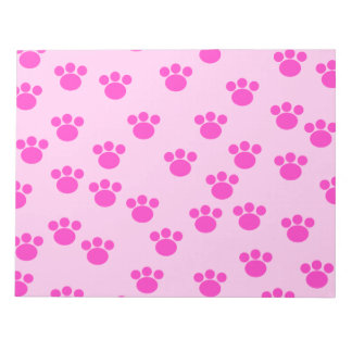 Animal Paw Prints. Light Pink and Bright Pink. Notepad