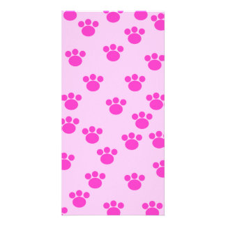Animal Paw Prints. Light Pink and Bright Pink. Photo Card