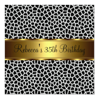 "Animal Print 35th Elegant Birthday Party 5.25"" Square Invitation Card"