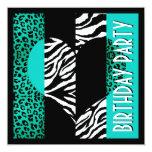 "Animal Print Aqua Blue Leopard Black & White Zebra 5.25"" Square Invitation Card"