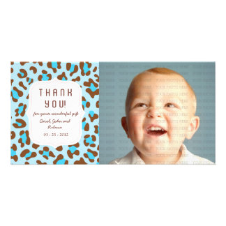 Animal Print Blue - Any Occasion Thank you Personalized Photo Card