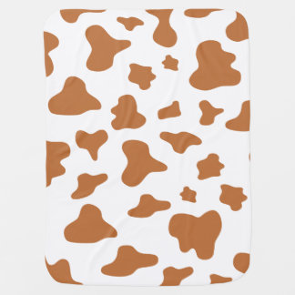 Animal Print (Cow Print), Cow Spots - Brown White Baby Blanket