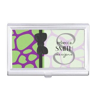 Animal Print (Giraffe Pattern) - Purple Green Business Card Holder