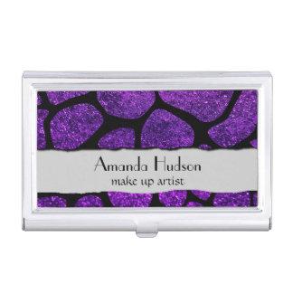 Animal Print Giraffe, Shiny Glitter - Black Purple Business Card Holder