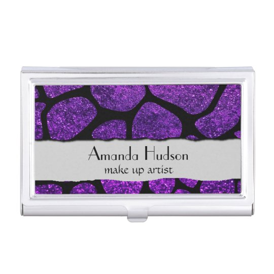 Animal Print Giraffe, Shiny Glitter - Black Purple Business Card Holder