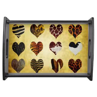 Animal print hearts serving tray