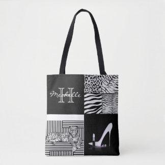 Animal Print & High Heel Fashion Collage Tote Bag