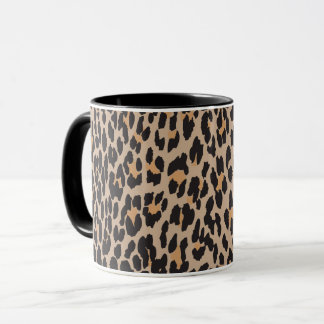 Animal Print, Leopard Spots - Brown Black Mug