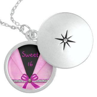 Animal Print Pink & Black Folded Sweet 16 Round Locket Necklace