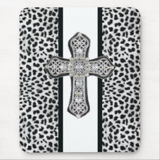 Animal Print  & Rhinestone Cross Mouse Pad