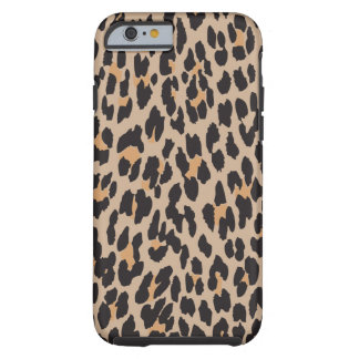 Animal Print, Spotted Leopard - Brown Black Tough iPhone 6 Case