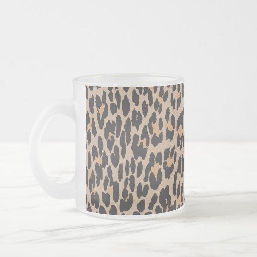 Animal Print, Spotted Leopard - Brown Black Coffee Mugs