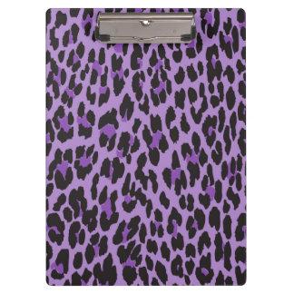Animal Print, Spotted Leopard - Purple Black Clipboard