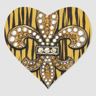 Animal Print Tiger Fleur Di Lis Jewel Heart Sticker