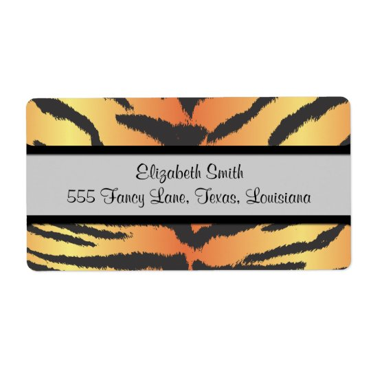 Animal Print, Tiger Stripes - Black Orange Shipping Label