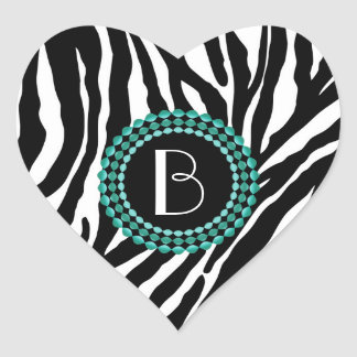 Animal Print Zebra Pattern and Monogram Heart Sticker