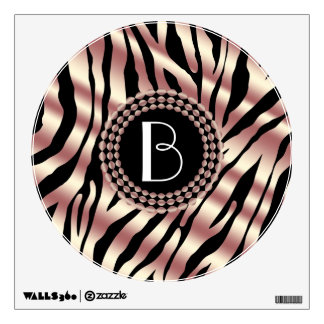 Animal Print Zebra Pattern and Monogram Wall Decal