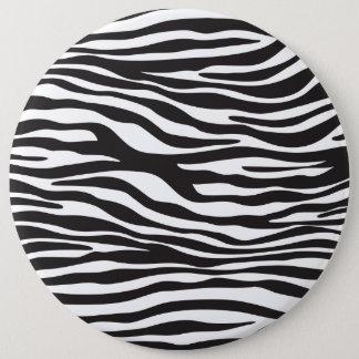 Animal Print, Zebra Stripes - Black White 6 Inch Round Button