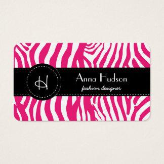 Animal Print, Zebra Stripes - Pink White Business Card